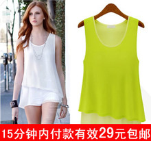 2013 spring models in Europe and America fake two double chiffon dress sleeveless vest straps bottoming shirt big yards female