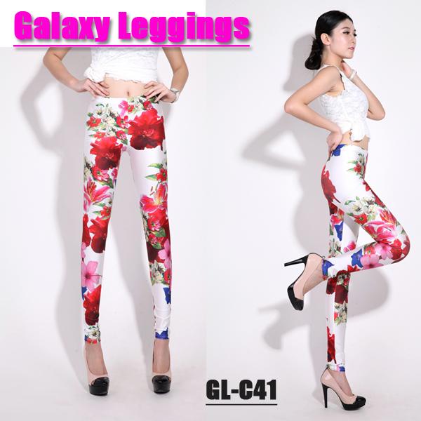 Леггинсы No tag GL/c 2013 Woman Sexy Flower LEGGINGS Floral Leggings Pants Tights Брюки чуть выше щиколотки Полиэстер 2013 года
