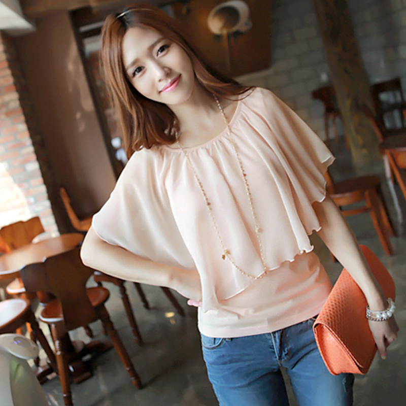 2013 summer dress new Korean women short sleeve slim sweet chiffon sleeve batwing coat base t-shirt L288