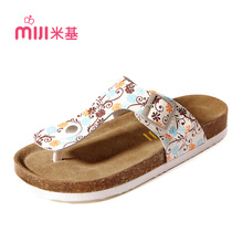 Mickey couple new summer sandals flip flops women leather flat sandals cork female tx-4