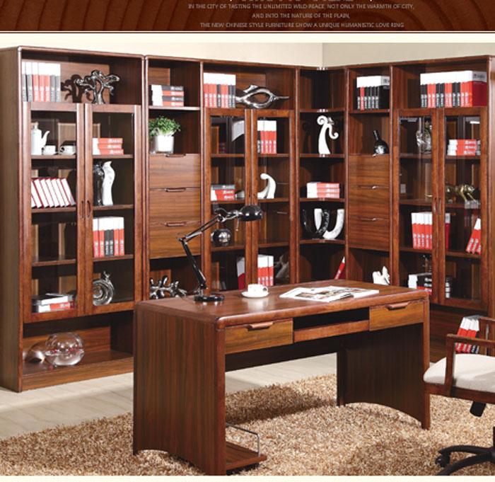實木書柜自由組合現代中式實木書房家具書架書櫥二門三門轉角書柜圖片