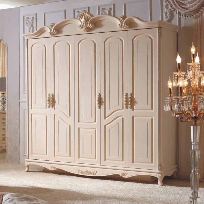 Гардеробный шкаф Европейская мебель спальня сочетание слоновая кость/белый пяти дверный шкаф кабинет 2,35 м
