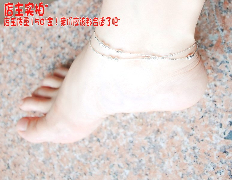 Eight Pearl double silver anklet chain foot chain foot girl Korean version