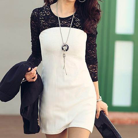 Женское платье «Корея нас Швейцарский» осень/зима 2012 новый сексуальный тонкий длинный рукав платье кружева шитье 8661