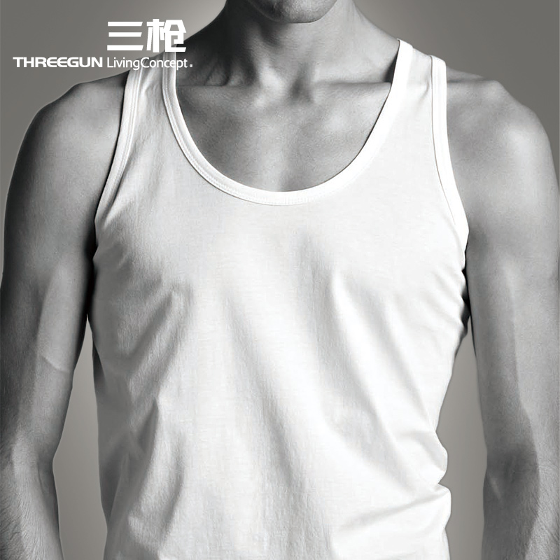 THREEGUN  vest Round collar men cotton high count vest sweaters sleeveless top cotton business Taobao Agent