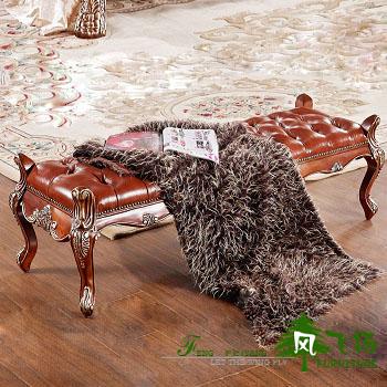 美式床尾凳实木换鞋凳田园时尚简约新古典后现代矮脚凳子创意家具