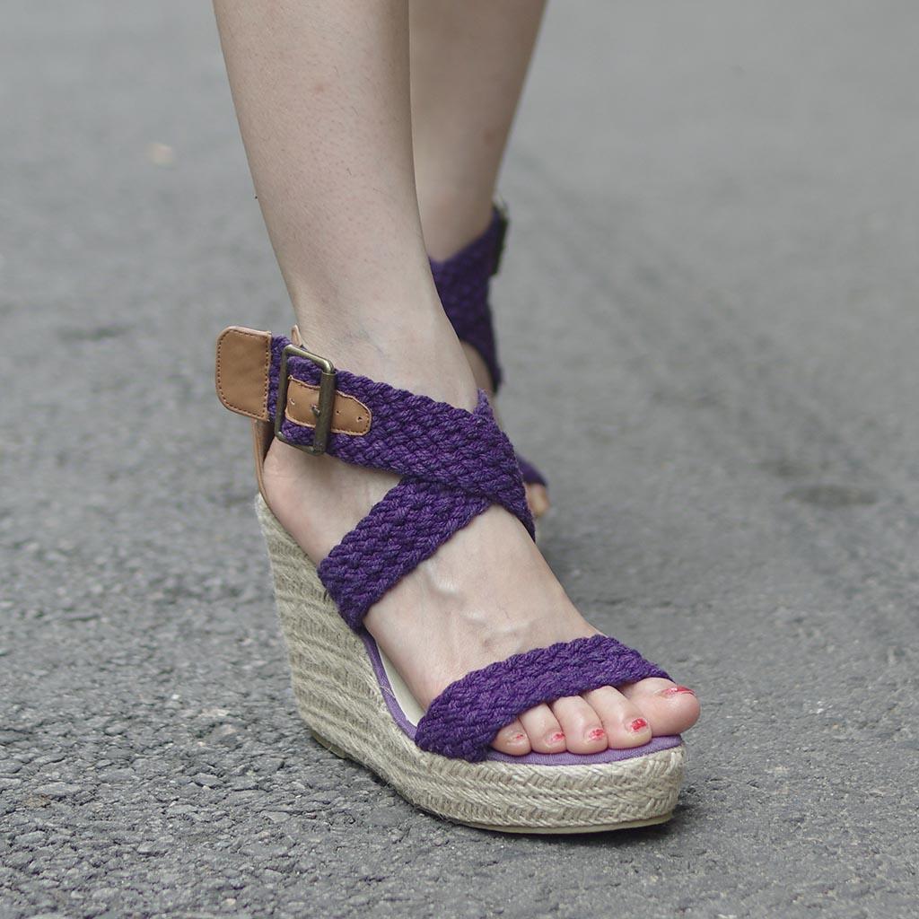 2013夏季女鞋新款韩版毛线编织鱼嘴罗马厚底松糕凉鞋坡跟高跟凉鞋