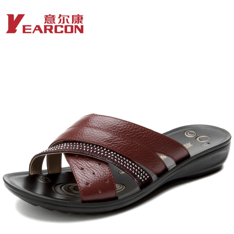 意尔康2013夏季新款真皮大气舒适平底妈妈鞋拖鞋女凉鞋