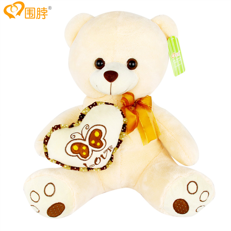 围脖 大号泰迪熊布娃娃 抱抱熊公仔 生日礼物女 毛绒玩具熊 蝴蝶