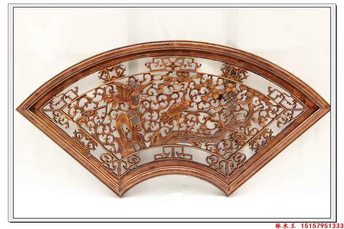Деревянная резная фигурка Древесины стены шпона камфорного дерева резные стены веерообразные стены полые SONGHE долголетия