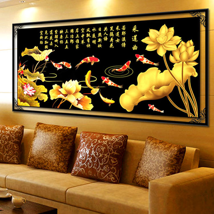 D stitch the latest Golden Lotus living room large fish gather fish Fu wire precision printing
