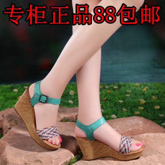 2013 new Shoppe genuine high sponge cake and thick-soled platform shoes with Sheepskin knit women's sandals