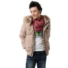 【正品清仓】雅鹿.蓝冰冬季貉毛隐格男短款特价羽绒服BA52000图片