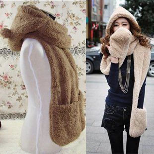 Winter hooded cashmere scarf thick plush hooded scarf hat gloves scarf lovers ear one woman