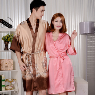 Men Women genuine special spring lovers short-sleeved silk pajamas nightgown bathrobe sexy tracksuit yards
