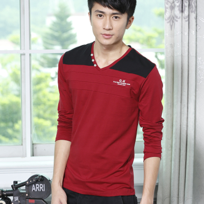 Men's V-neck shirt bottoming Korean Slim autumn clothes 8 small red tide men's shirt long-sleeved T-shirt men T-shirt Peter Yi