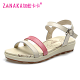Plus blue Kaka summer new leather flat sandals fashion flat heel <span class=H> </span> <span class=H> casual shoes </span> leather sandals slip