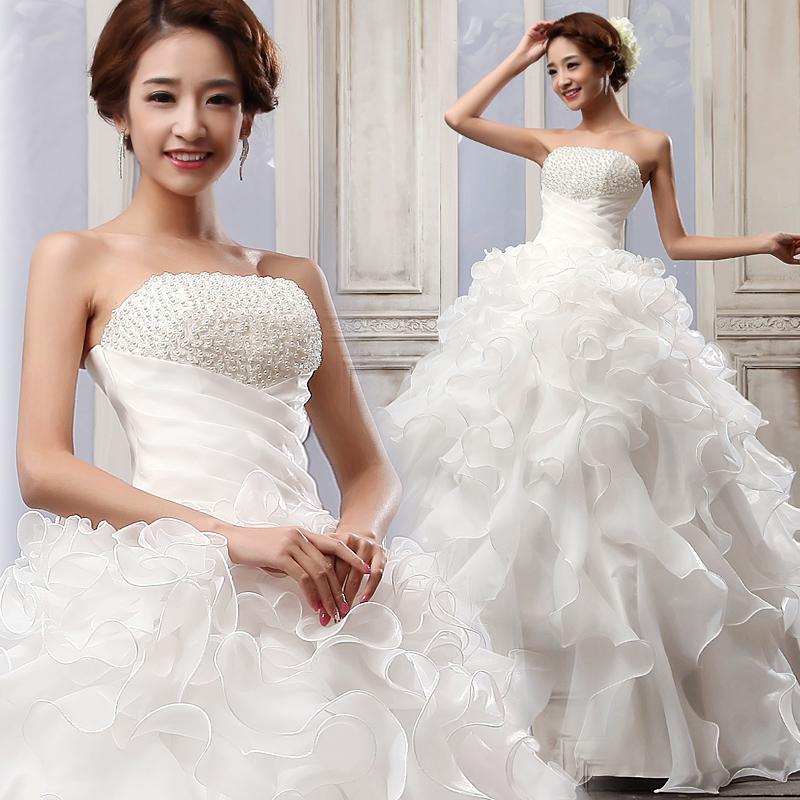 韩式公主绑带新娘婚纱礼服 新款2013韩版珍珠抹胸婚纱齐地蓬裙674
