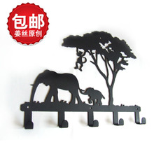 Original B051 shredded ginger in the African bush elephant hook hanging contracted and contemporary rural style, wrought iron clothes