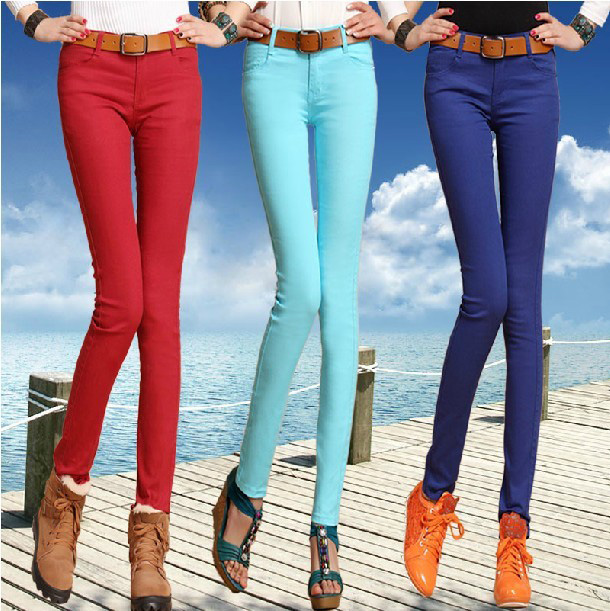 2013 spring new styles of ladies ' casual Korean version of Candy-colored wave of thin denim stretch pencil pants feet pants trousers