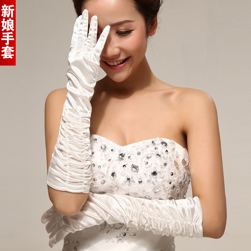 Wedding dresses the bride married long gloves summer high white wedding elastic wrinkle fabric yarn gloves