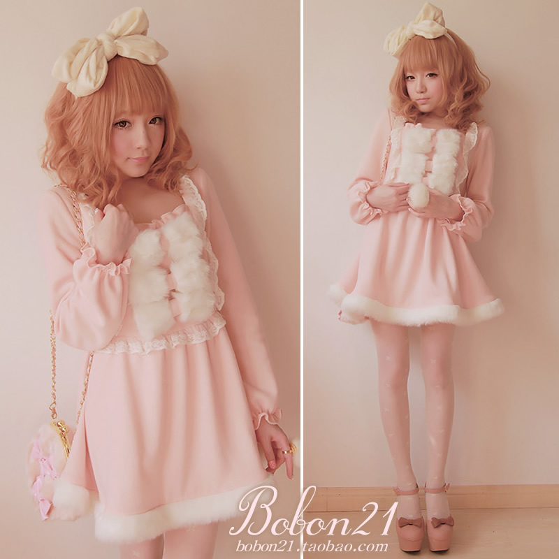 BOBON21{exclusive original design} sweet fluffy bow dresses, lace dress D0729