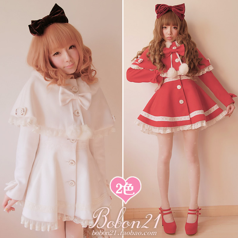 BOBON21{exclusive original design} detachable Cape and two-piece fur ball bow coat C0744