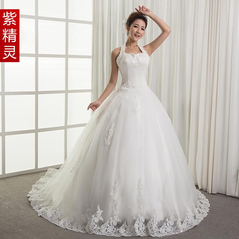 紫精灵 婚纱礼服 婚纱礼服2013新款婚纱拖尾抹胸韩版韩式公主绑带
