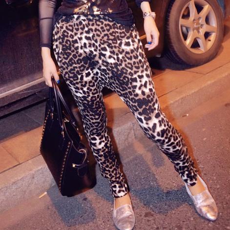Женские брюки Европейских женщин леопарда печати брюки брюки новый шаровары репы шаровары падать случайные растянуть ноги карандаш брюки