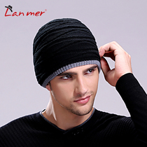 Lanmer mens hats winter knitted cap Korean male tide male winter hat Double thick wool hat man