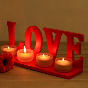 Gentry romantic LOVE Candlestick | Valentine | wooden candlesticks Decoration | Wedding Candlestick | send a small glass