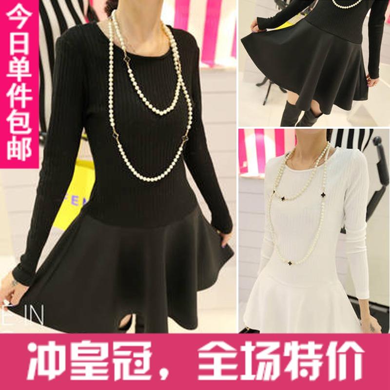 Женское платье Для должности 2013 осень новый Корейский моды платья, тонкая нить, шить темперамент длинное платье рукав Трикотаж