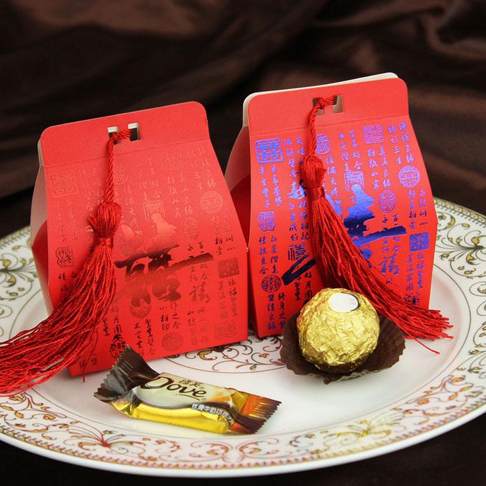 婚庆中式流苏喜糖盒 个性喜糖盒子 创意婚礼糖果盒包装 结婚用品