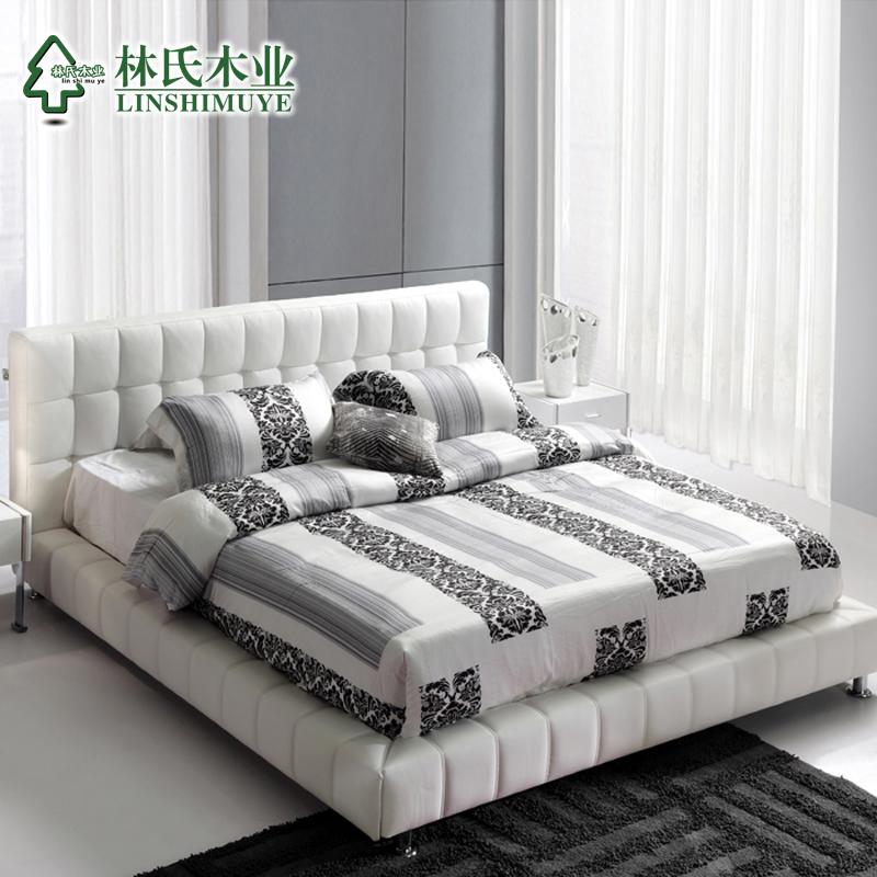 кожаная кровать Lin Wood  1.5 R02
