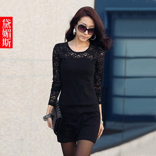 Dai Mei 2013 end of spring new Korean ladies ' large lace skirts slim long sleeve dress women