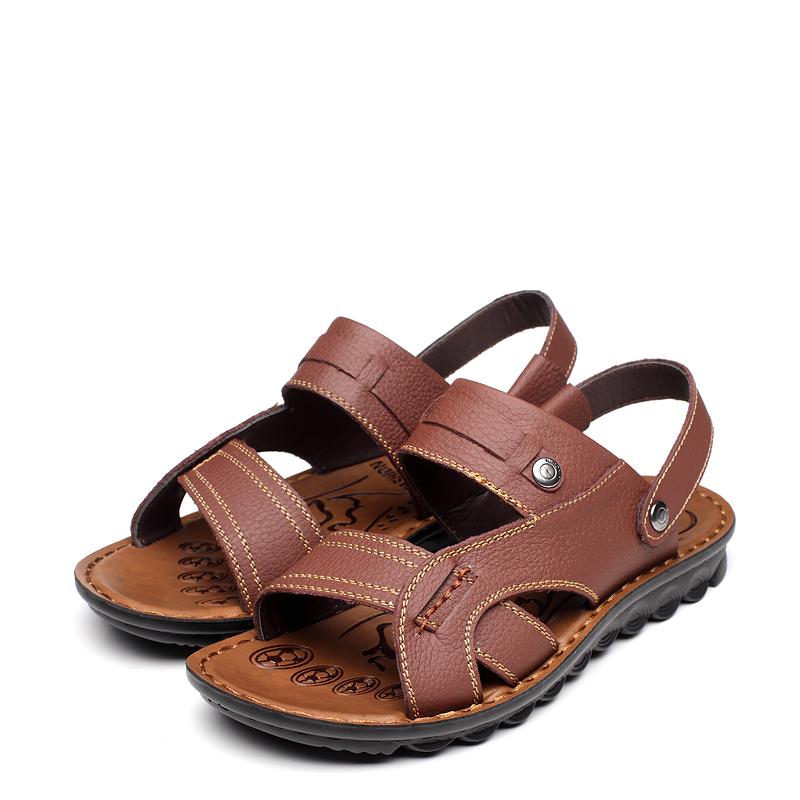 Сандали (4) Открытый носок Без застежки Кожа быка Лето Пляжная обувь