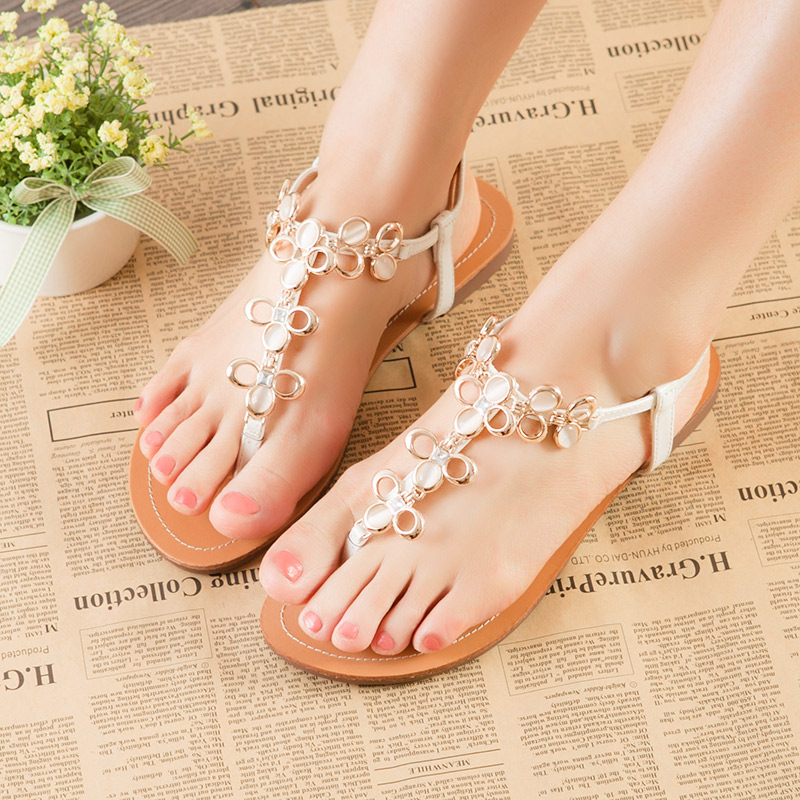 2013 summer Korean new clip toe flat Crystal Sandals boximiyaluomaping women Sandals package mail