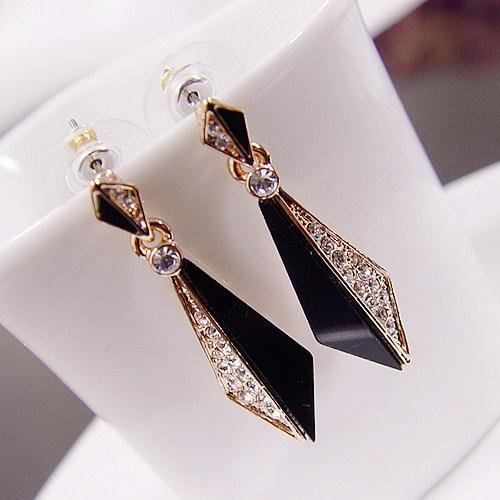 威妮华正品饰品女欧美简约时尚气质镶钻黑色亚克力耳坠耳饰耳环