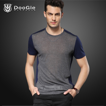 Doge Men's round neck short-sleeved T-shirt Slim Korean perspective stitching influx of men and men's 2013 new T-shirt