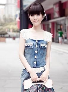 韩版显瘦蕾丝花边连衣裙 2013春装女牛仔面料薄款修身短袖牛仔裙