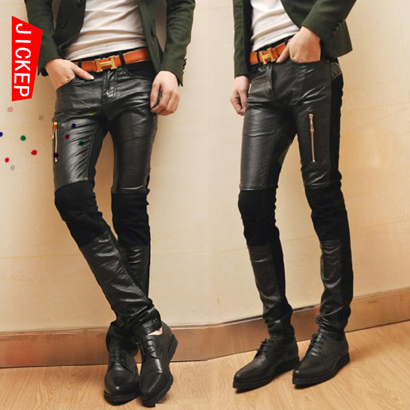 JICKEP men's pants Korean leather PU tide mosaic tide men's cowboy wagon spring loaded men pants trousers