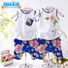 Love to buy] Korean version fitted baby clothes baby child vest suit 2013 new flowers baby sports summer