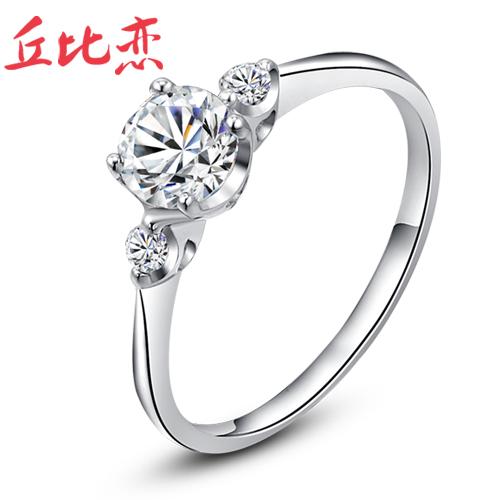 知音 心相偎 瑞士钻 925纯银戒指 韩版 潮人 女 银戒指 食指 SL