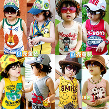 2013 summer new Korean boys and girls children's clothing children's cartoon baby sleeveless T-shirt vest tide tx-1798