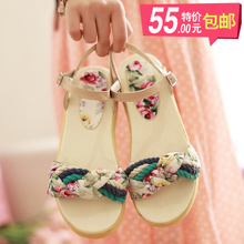 New Korean Fan children Sen female line fairy floral bohemian platform shoes thick crust slope with sandals child # T2335