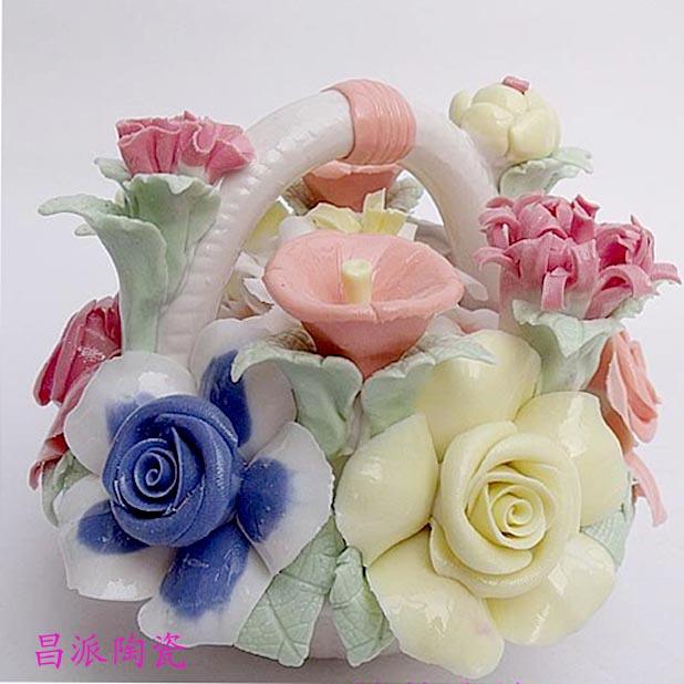 景德镇陶瓷装饰品 陶瓷花篮◆时尚摆件品 创艺家居婚庆礼品