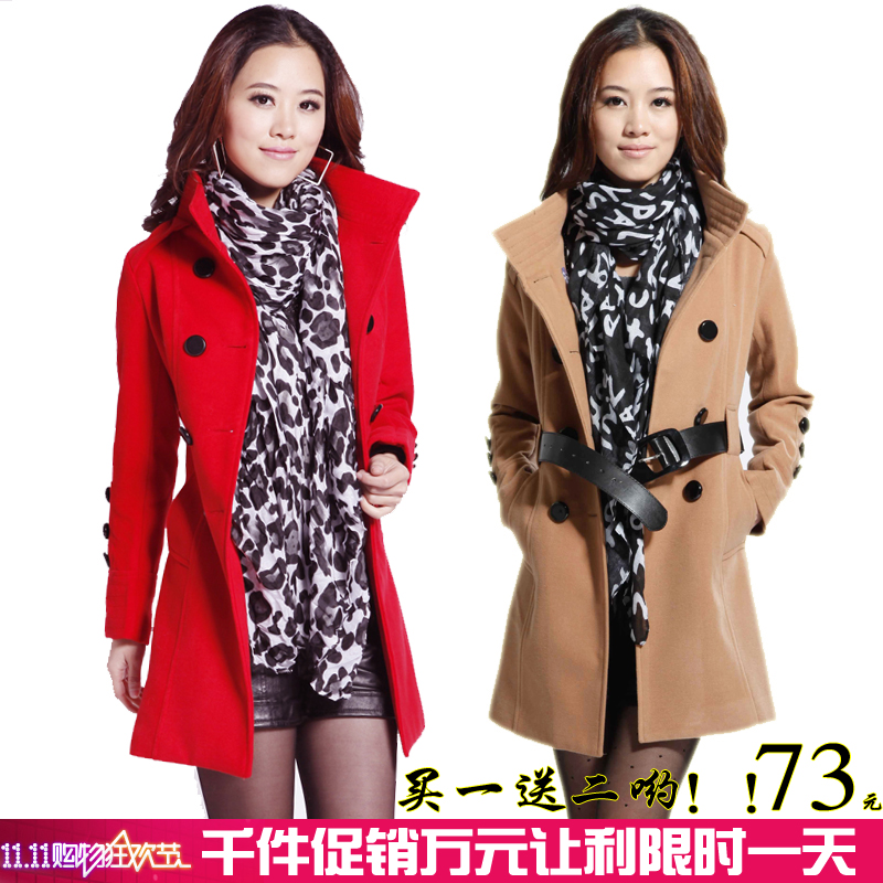 2013 spring new Korean temperament slim Barret collar trench coat women's coat sale sent scarf