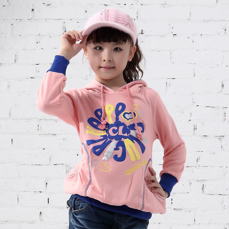 童装女童秋冬装2013新款中童纯棉卫衣 小中童带帽套头卫衣