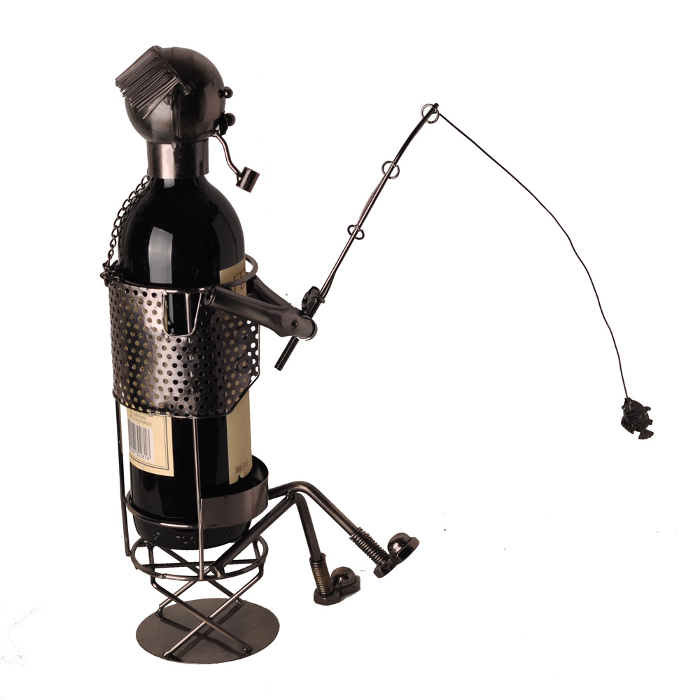 乐满屋家居 创意个性铁人钓鱼翁红酒架 超值铁艺酒架装饰礼品摆件