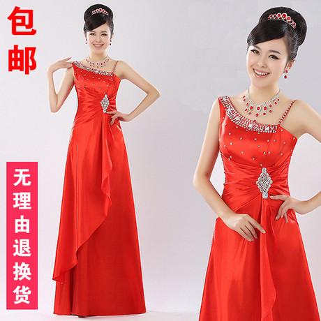 新款2013红色单肩新娘结婚长礼服 结婚季情定伊生婚纱礼服甜美公主礼服